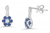 Diamond Earring with Blue Sapphire in 18K Gold