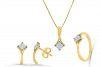 0.56ct. Diamond Ring Earring & Necklace Jewelry Set in 18K Gold