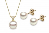 Pearl Earring & Necklace Jewelry Set in 18K Gold
