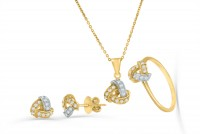 0.53ct. Diamond Ring, Earring & Necklace Jewelry Set in 18K Gold